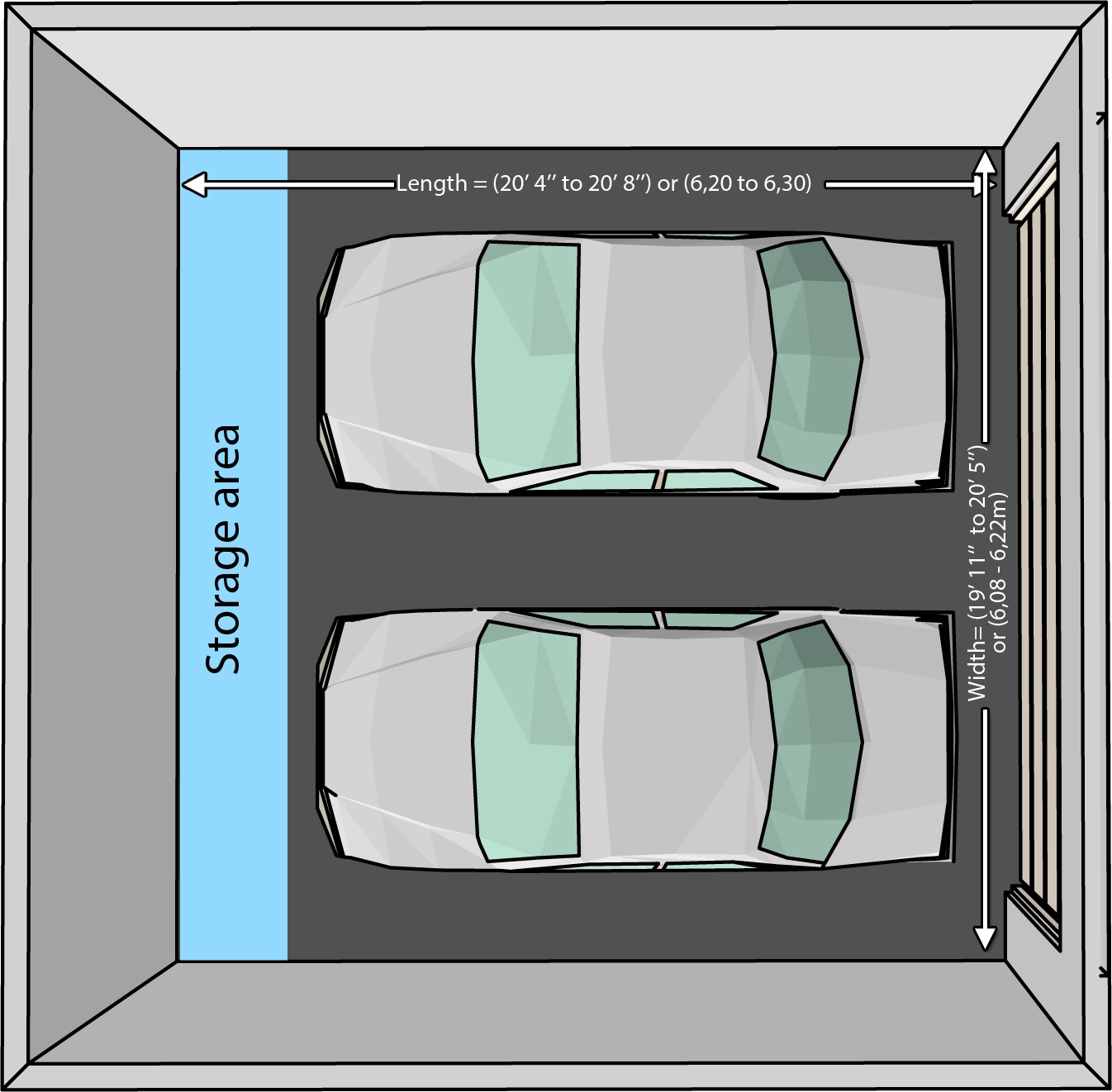 The Dimensions Of An One Car And A Two Garage Within Door