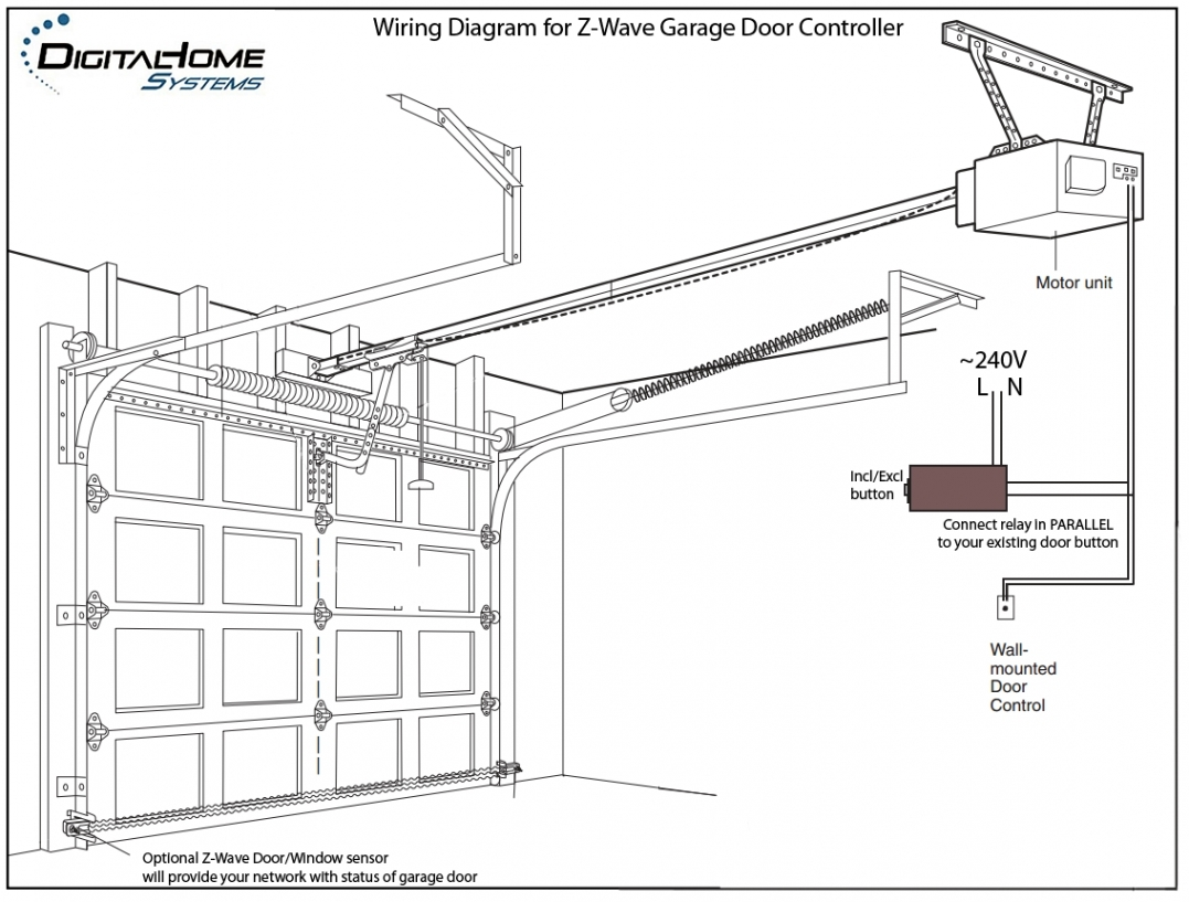 Wiring Diagram For Attached Garage : Wiring diagram for chamberlain garage door opener